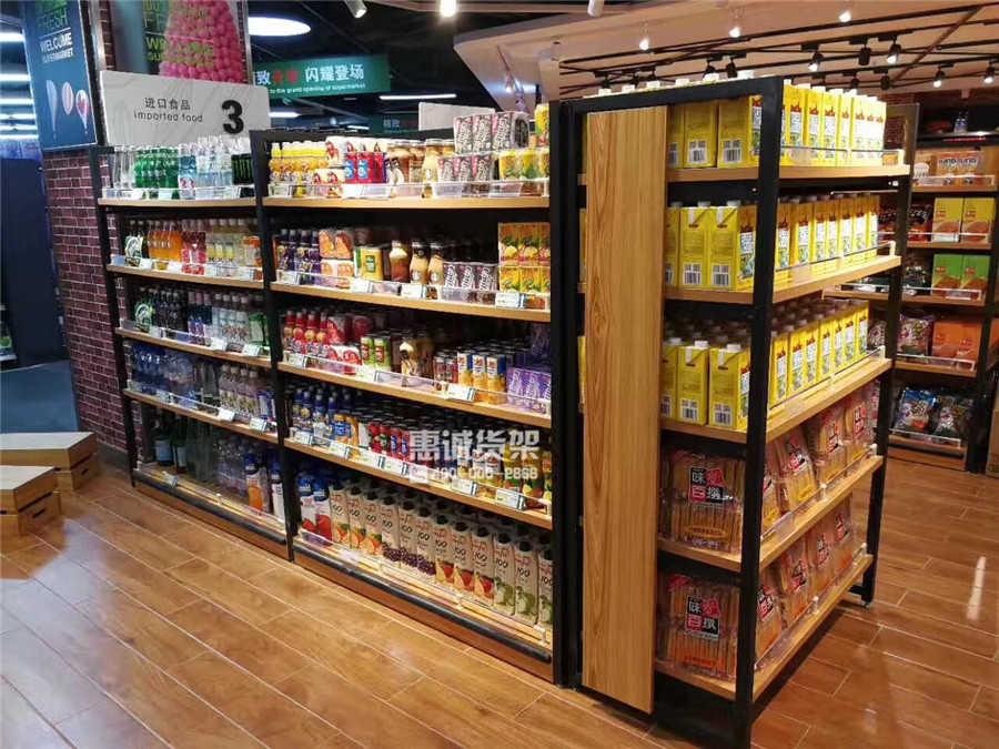 超市钢木货架款式1