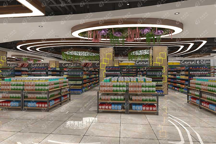 精品超市货架堆头摆放图片