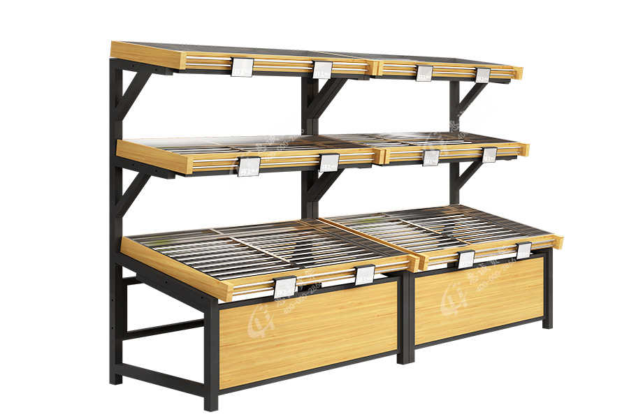 Huicheng 3 tier wooden fruit vegetable wall shelf display for supermarket