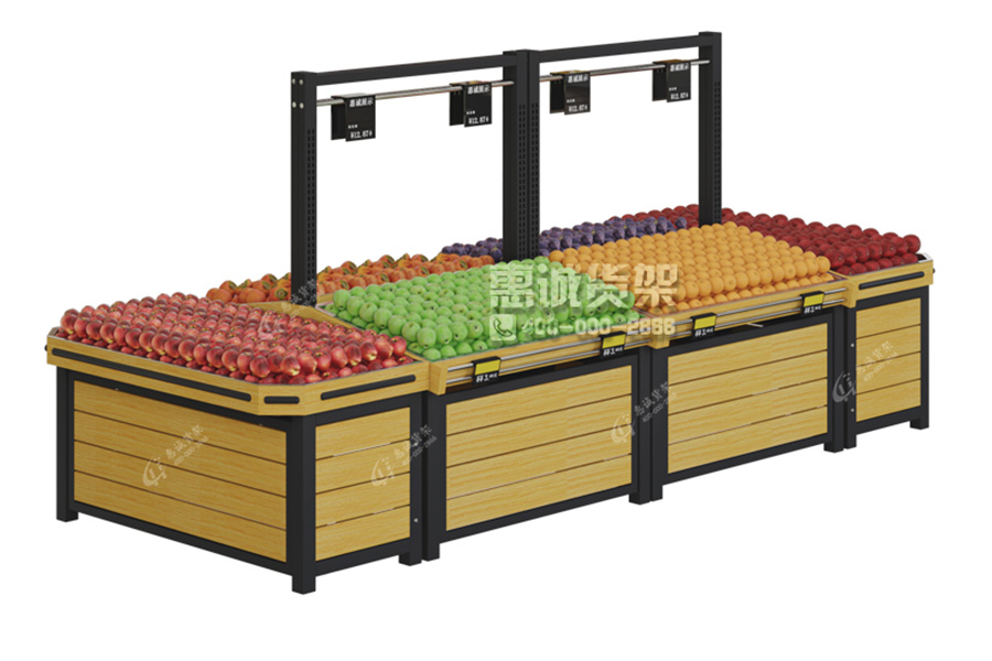 Island Design Supermarket Wooden Fruit Vegetable Gondola Display Stand For Sale