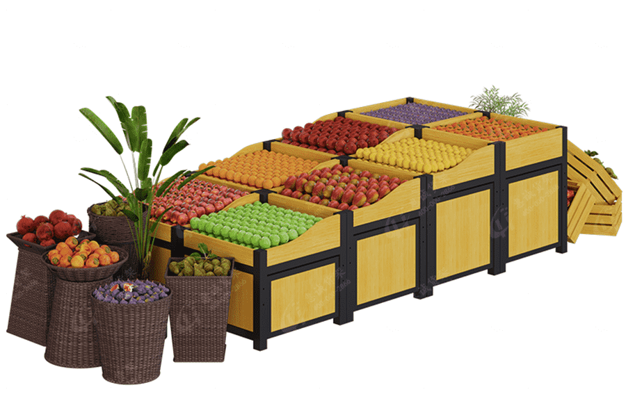 Boutique supermarket fruit vegetable display stand