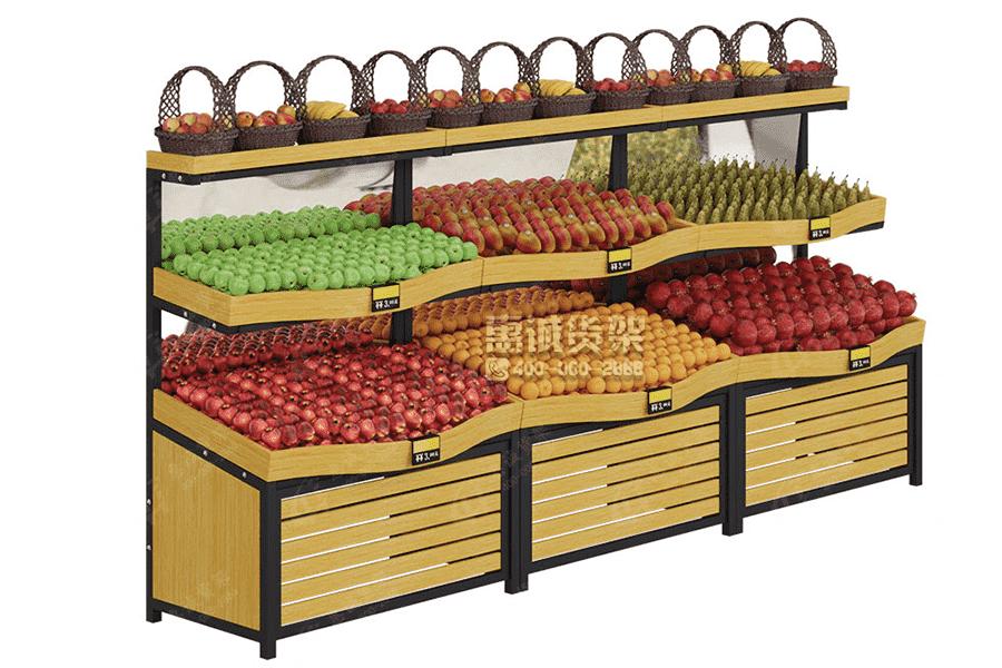 Multi-functional supermarket fruit vegetable wall shelf/rack
