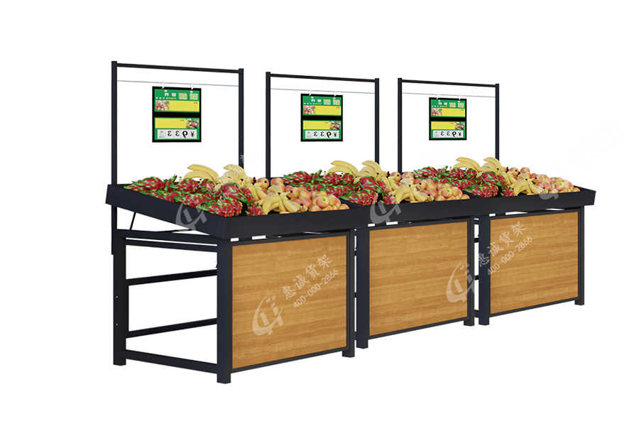 C style supermarket single side fruit and vegetable display stand
