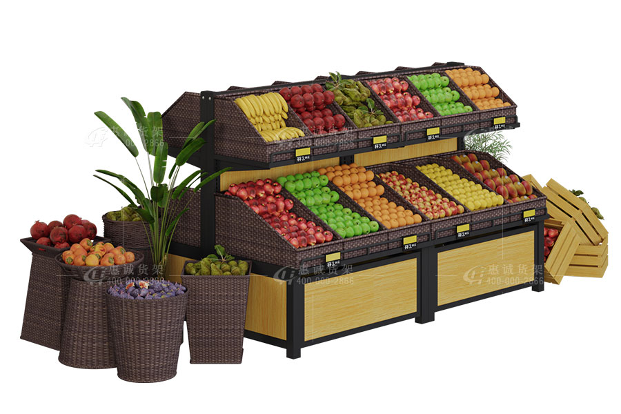 Double sides two layers fruit display rack with baskets