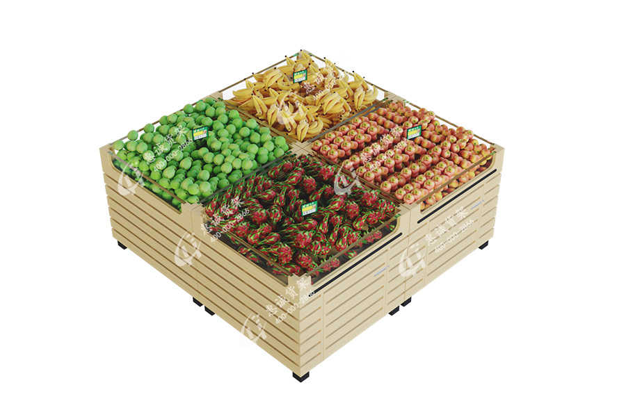Supermarket fruit vegetable top gondola display stand with glass fences-DTA