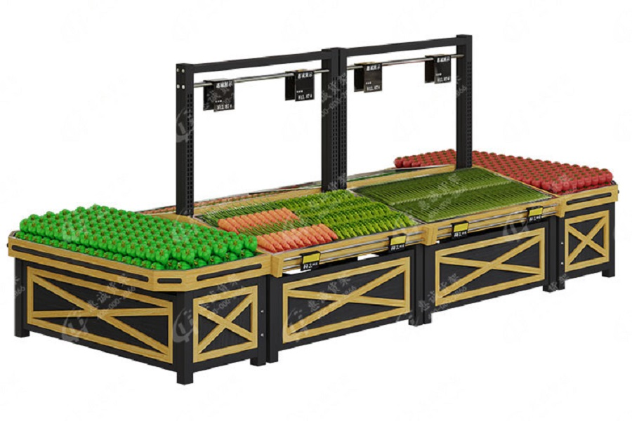 One layer fruit vegetable rack with price pole