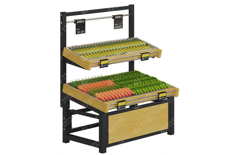 Two layer single side fruit vegetable display rack