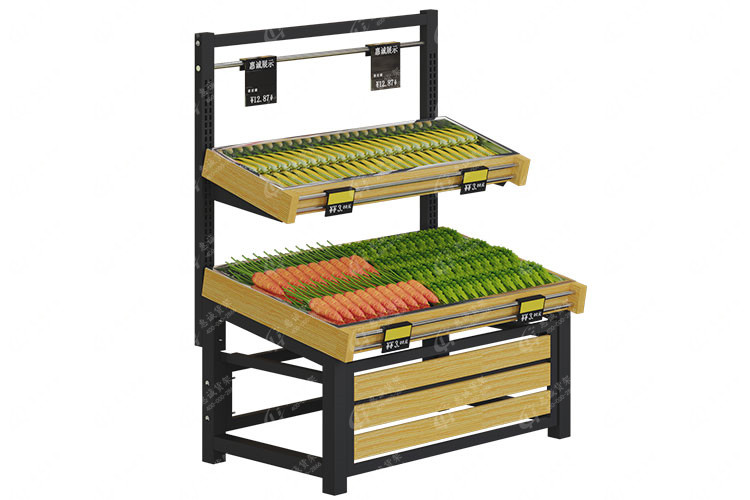 Two layer single side fruit vegetable display rack--wood stripe style