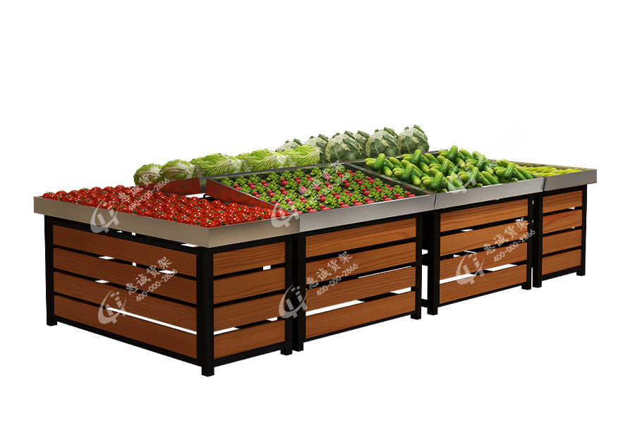 Stainless steel fresh supermarket island shelf fruit vegetable display rack