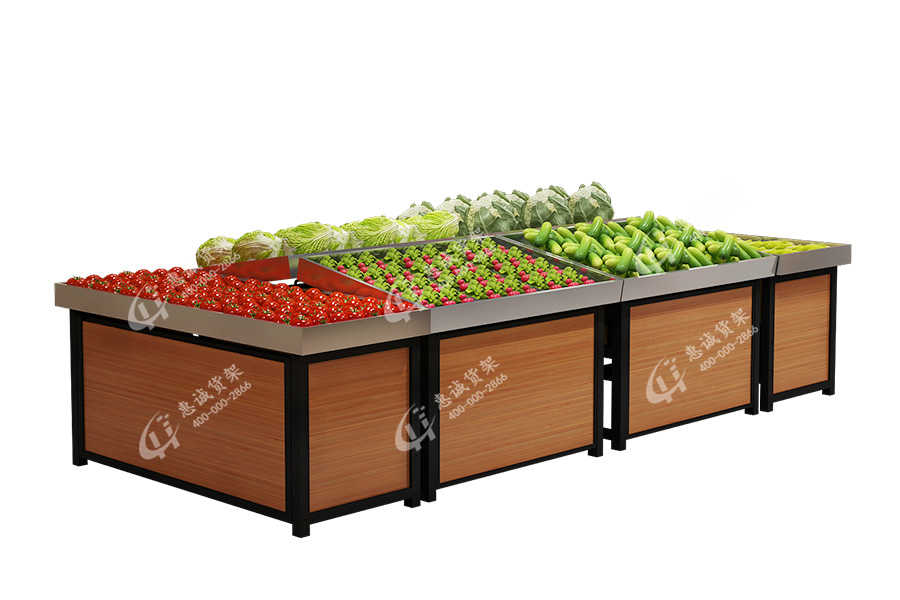 Stainless steel fresh shelf supermarket center rack for vegetables and fruits-ZL