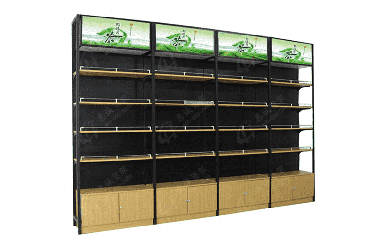 Single sided supermarket steel rack wood shelf-YS