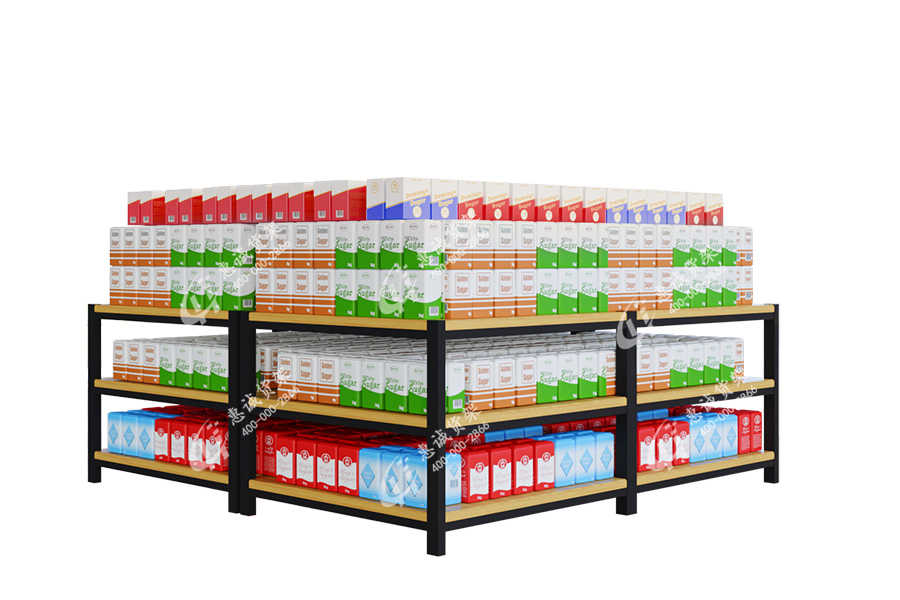 Supermarket steel wood shelf island display table
