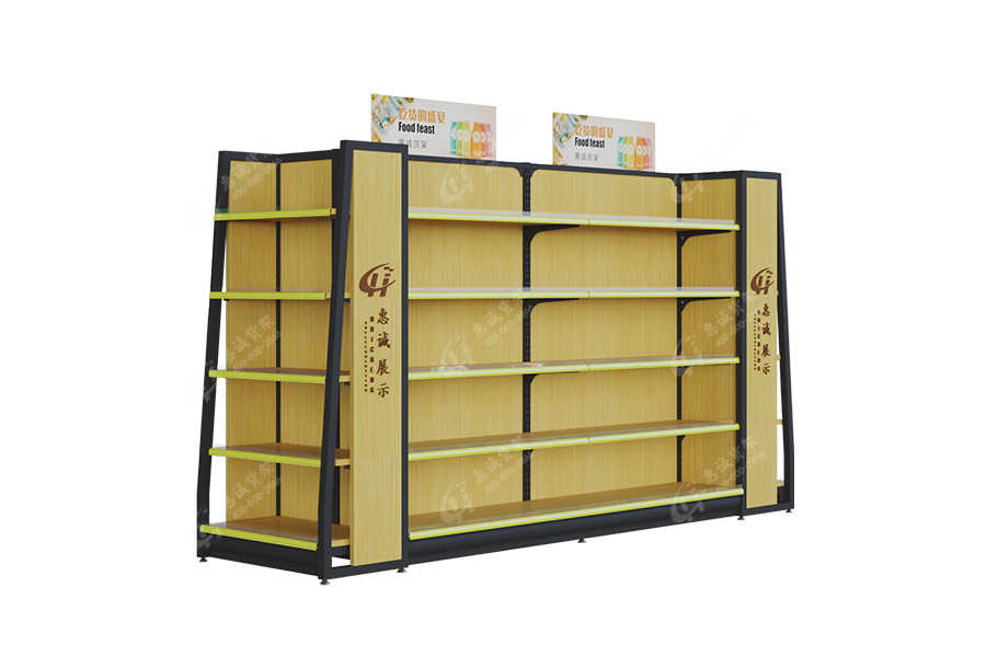 High quality steel display rack wood shelf for supermarket/store/stationery shop-XMGM