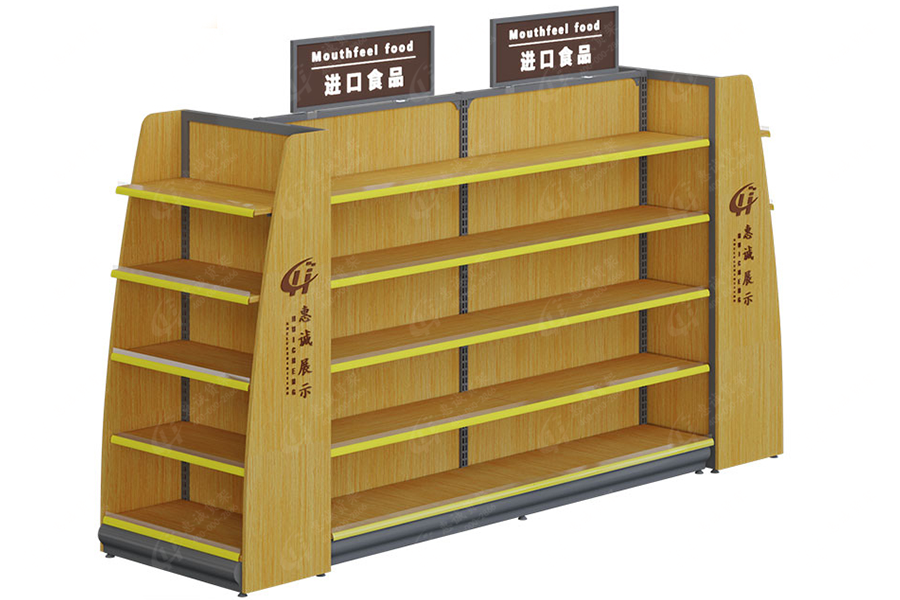 Convenience store double sided metal wood shelf