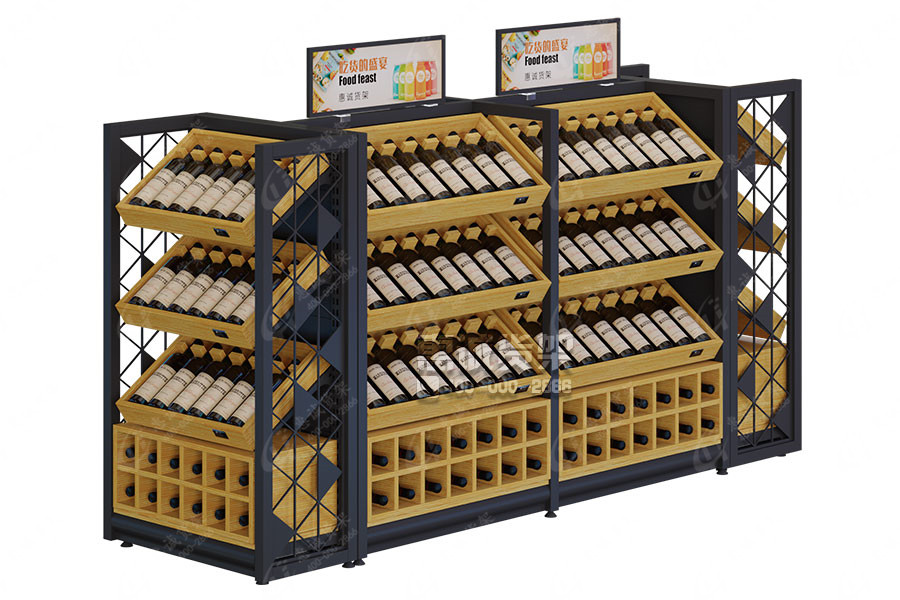 Huicheng Steel-Wooden Wine Display Shelf Center Rack