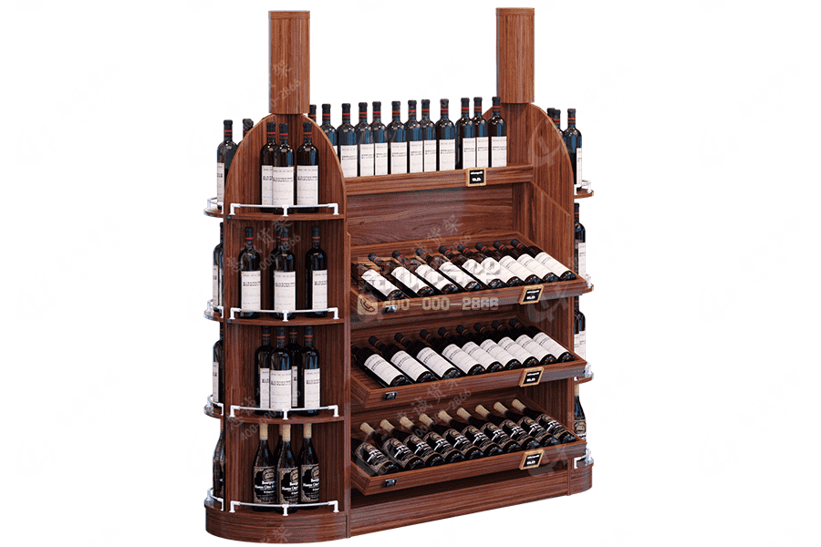 Supermarket Wine Center Rack-Double Sided Red Wine Shelf
