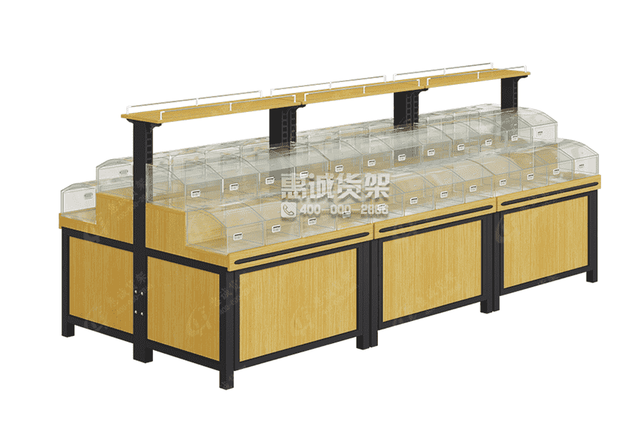 Wood Shelf Bulk Display Case For Snack