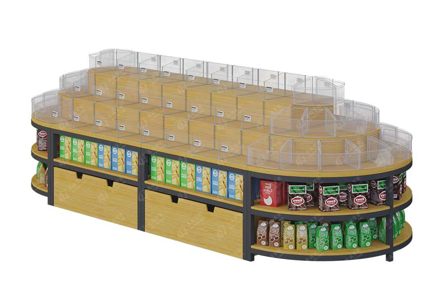 Supermarket center stand store wood display shelf