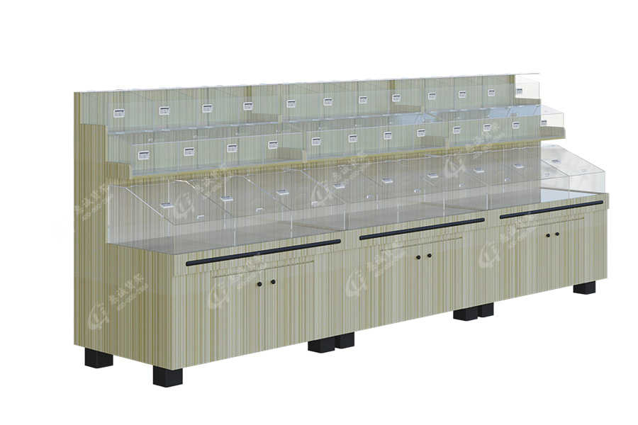 Single Sided Supermarket Wooden 3 Layers Display Shelf _SKQ3