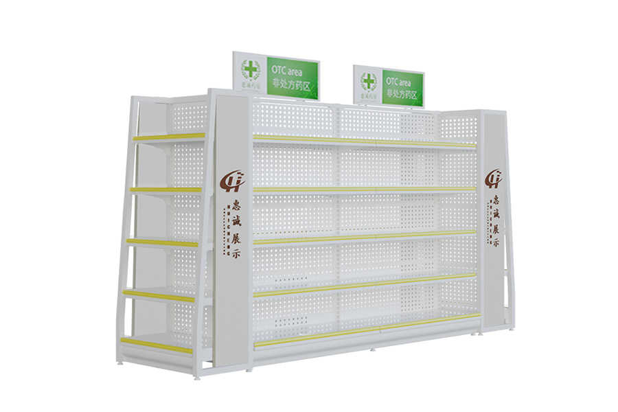 Customized supermarket shelves metal medicine display shelf, display racks for pharmacy